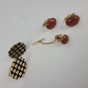 Vintage Cufflinks Tie Pin Set